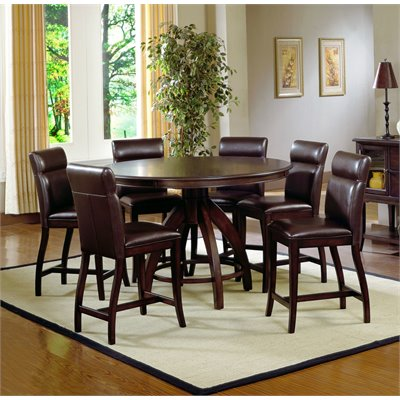 Hillsdale Nottingham Round Counter Height 7-Pc Dining Set in Espresso
