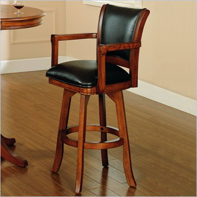 "Hillsdale Park View 30"" Swivel Arm Bar Stool in Medium Brown Oak"