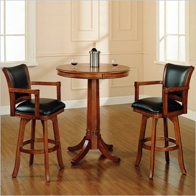 Hillsdale Park View 3 Piece Pub Table with Stools in Medium Brown Oak