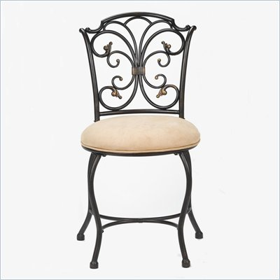 Hillsdale Sparta Vanity Stool in Black Gold Finish