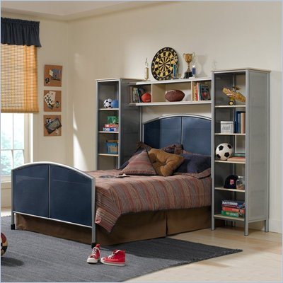 Hillsdale Universal Youth Metal Bed with Wall Storage 4 Piece Bedroom Set in Navy and Silver