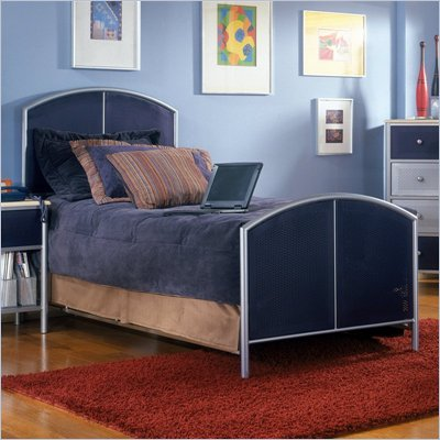 Hillsdale Universal Youth Twin Metal Panel Bed in Navy and Silver Finish