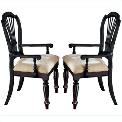 Hillsdale Wilshire Fabric Arm Chair in Rubbed Black Finish (Set of 2)