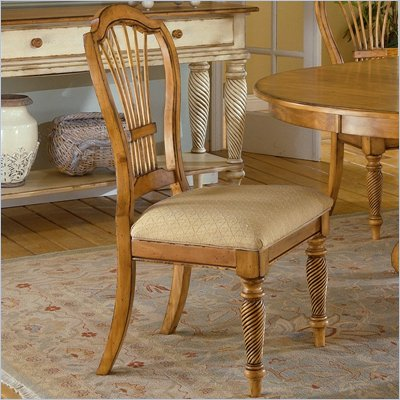 Hillsdale Furniture Wilshire Fabric Side Chair in Distressed Pine (Set of 2)