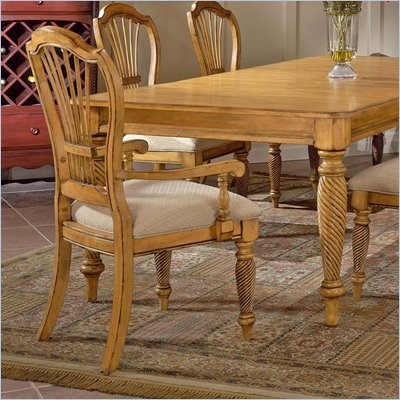 Hillsdale Furniture Wilshire Fabric Arm Chair in Antique Pine Finish (Set of 2)