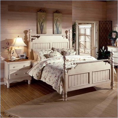 Hillsdale Wilshire Antique White Post Bed 2 Piece Bedroom Set