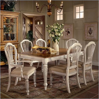 Hillsdale Wilshire 7 Piece Rectangular Dining Table Set in Antique White Finish
