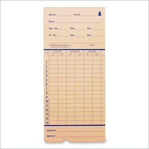 Pyramid Time Card for 2600 Time Recorders