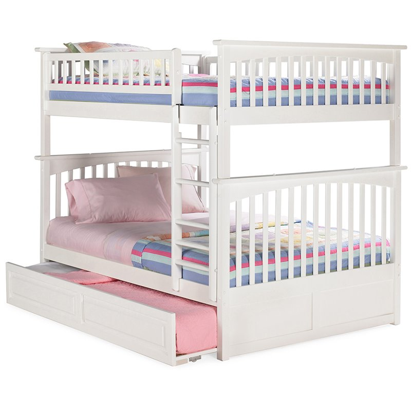 Atlantic Furniture Columbia Bunk Bed Full over Full with Raised Panel Trundle Bed in White