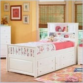 Atlantic Furniture Captain's Bookcase Bed with Underbed 4 Drawer Chest in White