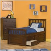 Atlantic Furniture Mate's Storage Bed with Underbed 4 Drawer Chest in Antique Walnut