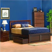 Atlantic Furniture Brooklyn Platform Bed with Raised Panel Footboard in Antique Walnut