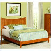 Atlantic Furniture Manhattan Platform Bed with Open Footrail in Caramel Latte