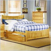 Atlantic Furniture Manhattan Platform Bed with Matching Footboard in Natural Maple