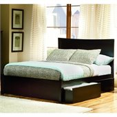 Atlantic Furniture Miami Modern Platform Bed with Flat Panel Footboard in Espresso