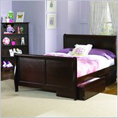 Atlantic Furniture Platform Sleigh Bed with Matching Footboard in Antique Walnut
