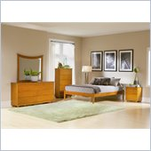 Atlantic Furniture Concord Wood Platform Bed with Open Footrail 5 Piece Bedroom Set