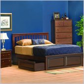 Atlantic Furniture Brooklyn Wood Platform Bed with Raised Panel Footboard 2 Piece Bedroom Set