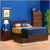 Atlantic Furniture Brooklyn Wood Platform Bed with Flat Panel Footboard 2 Piece Bedroom Set
