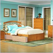 Atlantic Furniture Windsor Platform Bed with Flat Panel Footboard 5 Piece Bedroom Set in Caramel Latte
