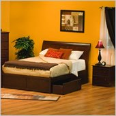 Atlantic Furniture Bordeaux Platform Bed with Flat Panel Footboard 2 Piece Bedroom Set