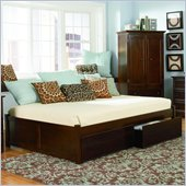 Atlantic Furniture Concord Platform Bed with Flat Panel Footboard and Storage Drawer Set