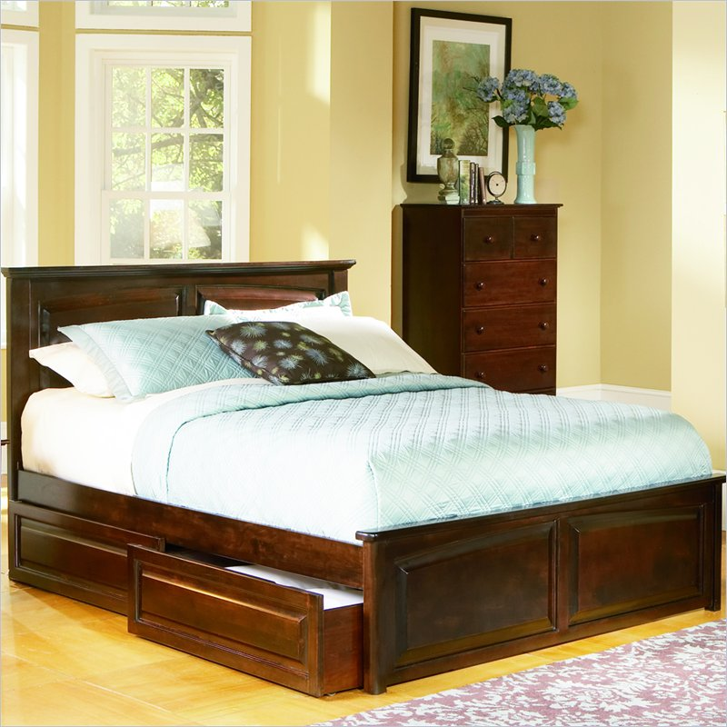 Raised Platform Bed : Monterey Platform Bed with Raised Panel Footboard and Storage Drawer ...