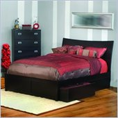 Atlantic Furniture Milano Platform Bed with Flat Panel Footboard and Storage Drawer Set