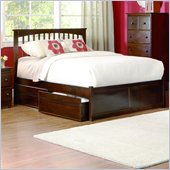Atlantic Furniture Brooklyn Platform Bed with Flat Panel Footboard and Storage Drawer Set