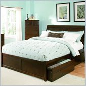 Atlantic Furniture Bordeaux Platform Bed with Flat Panel Footboard and Storage Drawer Set