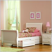Atlantic Furniture Platform Sleigh Bed with Storage Drawers in White