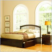 Atlantic Furniture Windsor Platform Bed with Flat Panel Footboard and Storage Drawer Set