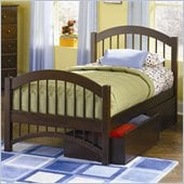 Atlantic Furniture Windsor Platform Bed with Matching Footboard and Storage Drawer Set