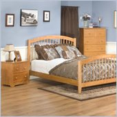 Atlantic Furniture Windsor Wood Platform Bed with Matching Footboard 4 Piece Bedroom Set