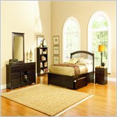 Atlantic Furniture Windsor Wood Platform Bed with Flat Panel Footboard 4 Piece Bedroom Set