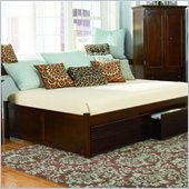 Atlantic Furniture Concord Wood Platform Bed with Flat Panel Footboard 4 Piece Bedroom Set