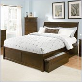 Atlantic Furniture Bordeaux Wood Platform Bed with Flat Panel Footboard 4 Piece Bedroom Set