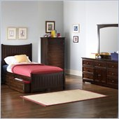 Atlantic Furniture Manhattan Wood Platform Bed with Matching Footboard 4 Piece Bedroom Set