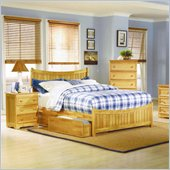 Atlantic Furniture Manhattan 4 Piece Bedroom Set in Natural Maple