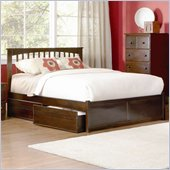 Atlantic Furniture Brooklyn Wood Platform Bed with Flat Panel Footboard 3 Piece Bedroom Set