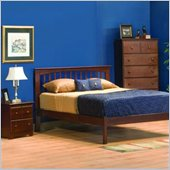 Atlantic Furniture Brooklyn Wood Platform Bed with Open Footrail 4 Piece Bedroom Set