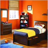 Atlantic Furniture Brooklyn 4 Piece Platform Bedroom Set with Free 7 Mattress