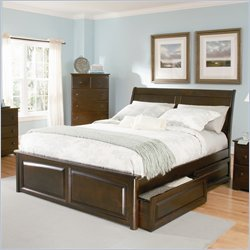 Atlantic Furniture Bordeaux Platform Bed with Raised Panel Footboard in Antique Walnut Finish