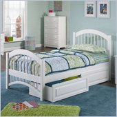 Atlantic Furniture Windsor Platform Bed with Matching Footboard in White