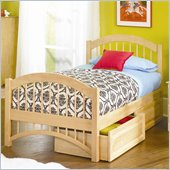 Atlantic Furniture Windsor Platform Bed with Matching Footboard in Natural Maple