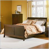 Atlantic Furniture Bordeaux Platform Bed with Matching Footboard in Antique Walnut