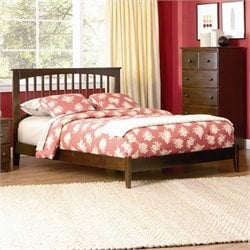 Atlantic Furniture Brooklyn Platform Bed with Open Footrail in Antique Walnut