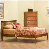 Atlantic Furniture Brooklyn Platform Bed with Open Footrail in Light Cherry