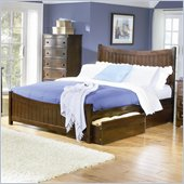 Atlantic Furniture Manhattan Platform Bed with Matching Footboard in Antique Walnut