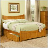 Atlantic Furniture Manhattan Platform Bed with Matching Footboard in Caramel Latte
